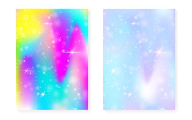 Magiczne tło z gradientem tęczy księżniczki. hologram jednorożca kawaii. zestaw wróżek holograficznych. fantastyczna okładka spectrum. magiczne tło z błyszczy i gwiazd na zaproszenie na przyjęcie słodkie dziewczyny.