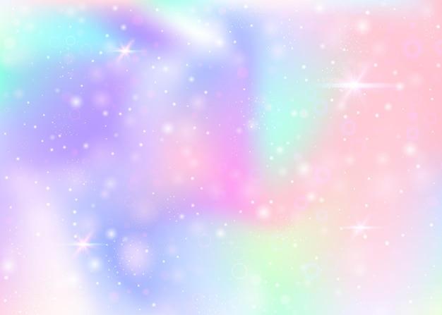 Magiczne tło z tęczową siatką. baner wszechświata kawaii w kolorach księżniczki. gradientowe tło fantasy z hologramem. holograficzne magiczne tło z bajki błyszczy, gwiazd i rozmywa.