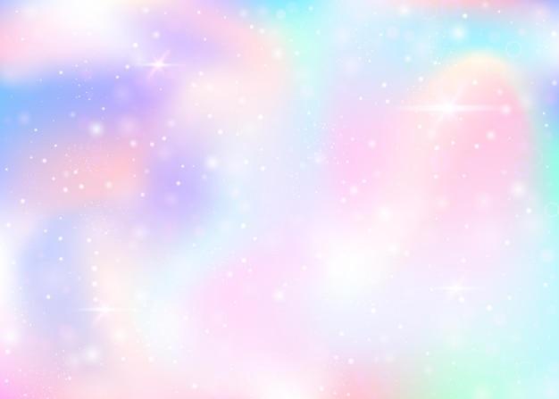 Magiczne tło z tęczową siatką. ładny baner wszechświata w kolorach księżniczki. gradientowe tło fantasy z hologramem. holograficzne magiczne tło z bajki błyszczy, gwiazd i rozmywa.