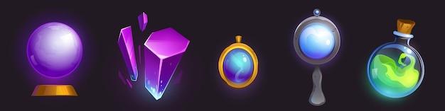 Magiczny amulet, kryształowa kula lustrzana i eliksir