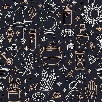 Magiczny bezszwowy wzór z liniowymi czarami i mistycznymi symbolami