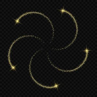 Magiczny efekt blasku światła gwiazdy wybucha błyskotkami na przezroczystym tle. ślad świetlny