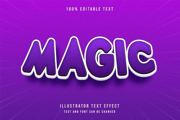 Magiczny efekt edytowalnego tekstu 3d nowoczesny styl tekstu gradacji fioletowy
