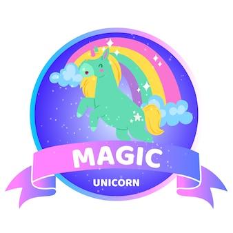 Magiczny jednorożec napis, informacje w tle, piękne jasne zwierzę, ilustracja, biały. śliczny koń fantasy, tęczowy jednorożec z animacją, wesoła bajka.