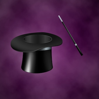 Magiczny kapelusz i różdżka. ilustracja na fioletowym tle z dymem