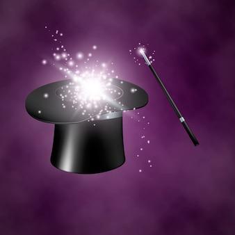 Magiczny kapelusz i różdżka. na fioletowym tle z dymem