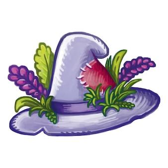Magiczny kapelusz kreskówka hedgewitch ozdobiony ziołami i kwiatami. halloweenowy kapelusz