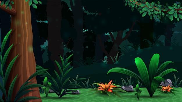 Magiczny las z pięknymi kwiatami, gęstym ciemnym lasem i gęstą roślinnością