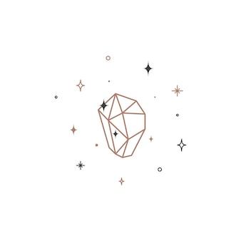 Magiczny lśniący kryształ cienka linia. symbol konspektu kamień szlachetny. święta ikona liniowej kwarcu mineralnego z czarnym konturem. ilustracja wektorowa