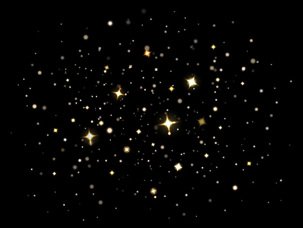 Magiczny, lśniący pył. cząsteczki oświetlają magiczne błyszczące gwiazdy, lśniący złoty gwiezdny pył. błyszczący zestaw ilustracji efekt świetlny pochodni. gwiaździste boże narodzenie dekoracja nocnego nieba