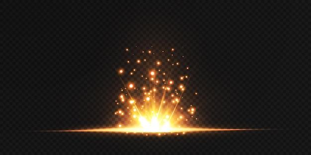 Magiczny, mieniący się, złoty efekt blasku. potężny przepływ energii energii świetlnej.