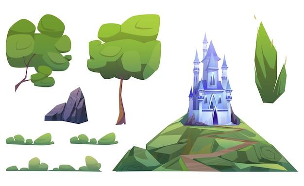 Magiczny niebieski zamek i elementy krajobrazu na białym tle