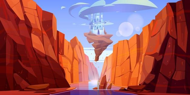 Magiczny niebieski zamek na skale lecący nad rzeką w kanionie