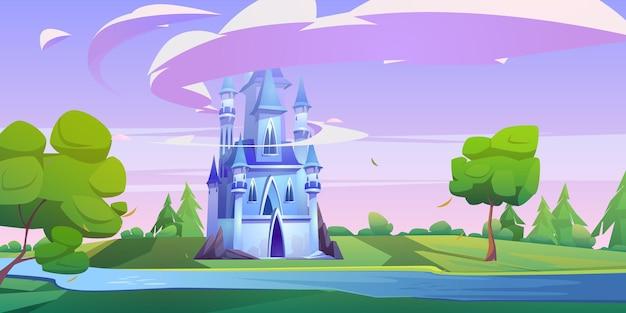 Magiczny niebieski zamek na zielonej łące z drzewami i rzeką