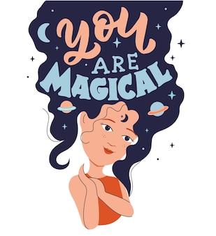 Magiczny obraz z kreskówkową dziewczyną wyrażenie jesteś magiczna jest dobre dla projektów na dzień dziewczyny