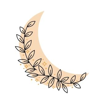 Magiczny półksiężyc boho z liśćmi, gwiazdy na białym tle. ilustracja wektorowa. dekoracyjne elementy boho na tatuaż, kartki okolicznościowe, zaproszenia, ślub