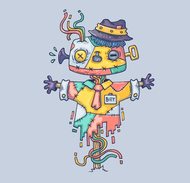 Magiczny strach na wróble w kapeluszu. ilustracja kreskówka postać w nowoczesnym stylu graficznym.