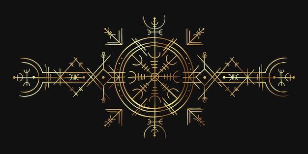 Magiczny symbol wikingów. złoty ornament ezoteryczny, amulet kompasu nordyckiego. nordycka pogańska runa zaklęcia do tatuażu. okultystyczny złoty okrąg wektor wzór. mistyczna mitologia nordycka znak. sztuka ezoteryczna