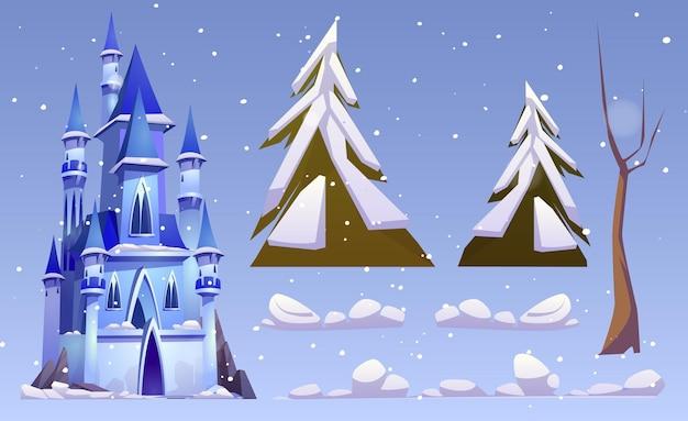 Magiczny zamek i elementy zimowego krajobrazu na białym tle