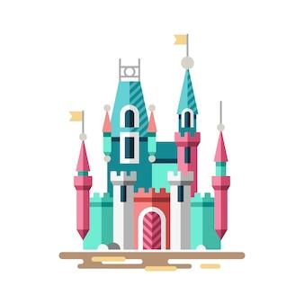 Magiczny zamek. wspaniały pałac. płaska ilustracja.