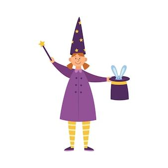 Magik dziecko dziewczynka lub iluzjonista wykonujący magiczną sztuczkę, mieszkanie na białym tle. dziewczyna z różdżką i królikiem w kapeluszu.