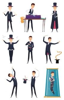 Magik. showman wykonawca mężczyzna w czarnym stroju i białych rękawiczkach magiczne sztuczki postaci z kreskówek