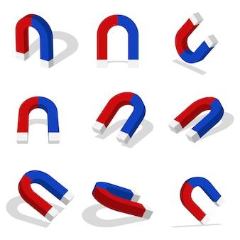 Magnes 3d ikona ilustracja z różnymi widokami i kątami