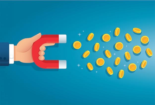 Magnes trzymający rękę. przyciąganie koncepcji pieniędzy