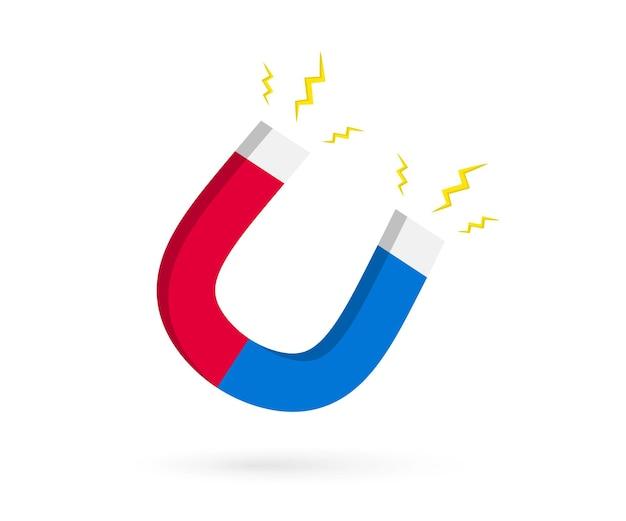 Magnes z błyskawicą. magnes podkowy z mocą magnetyczną. magnetyzm, namagnesowanie, koncepcja przyciągania.