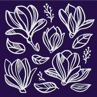 Magnolia zestaw kwiatowy ażurowe kwiaty monochromatyczne sylwetki białych kwiatów i liści na ciemnym niebieskim tle szkic wektor clipart kolekcja ilustracji