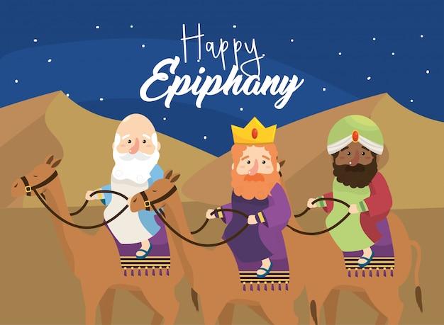Magowie królowie jeżdżą wielbłądami ku szczęśliwemu objawieniu