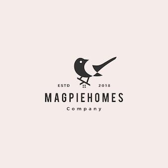 Magpie homes hipster logo domu