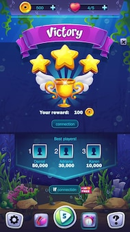 Mahjong fish world illustration mobilne pole zwycięstwa do gry komputerowej
