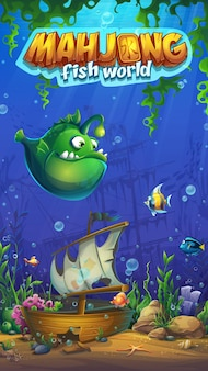 Mahjong fish world illustration mobilny format gry do gry komputerowej