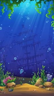 Mahjong fish world tło podwodnego świata z piaskiem