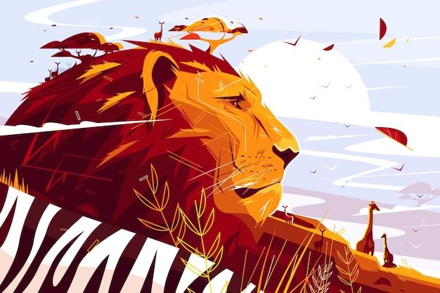 Majestatyczny lew na ilustracji safari