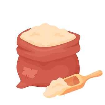 Mąka pszenna w worku lub jutowej torbie z drewnianą gałką na białym tle. mąka jęczmienna, owsiana, żytnia, pszenna. naturalne elementy żywności rolnictwa w stylu cartoon, wektor.