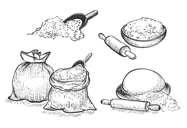 Mąka wektor ręcznie rysowane zestaw ilustracji