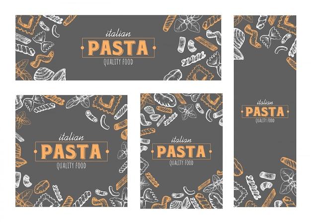 Makaron banery, projektowanie kart, ręcznie rysowane elementy makaronu, zestaw różnych formatów.
