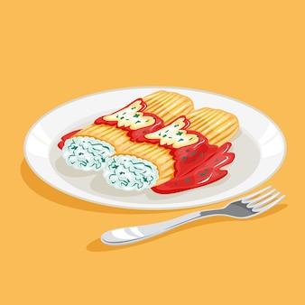 Makaron manicotti. włoskie tradycyjne potrawy, smaczny makaron w talerzu. ilustracja w stylu kreskówki