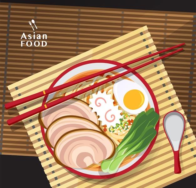 Makaron ramen, tradycyjna azjatycka zupa makaronowa, ilustracja