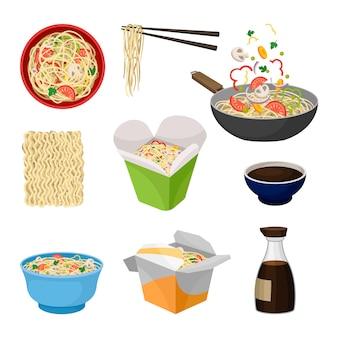 Makaron tradycyjne orientalne jedzenie. ilustracja.