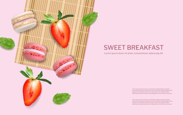 Makaroniki truskawkowe wektor realistyczne. 3d szczegółowa ilustracja menu plakatu
