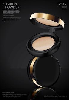 Makeup powder poduszki plakat szablon ilustracji