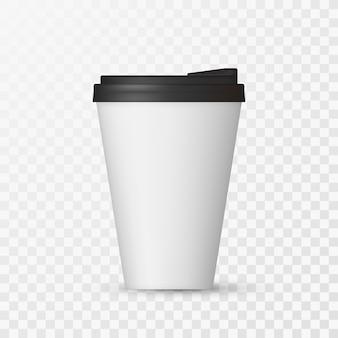 Makieta białej czapki kawy.