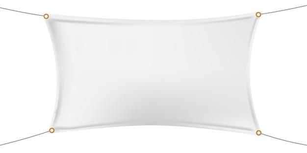 Makieta biały poziomy baner winylowy