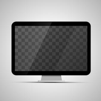 Makieta błyszczącego monitora biurkowego z przezroczystym miejscem na ekran