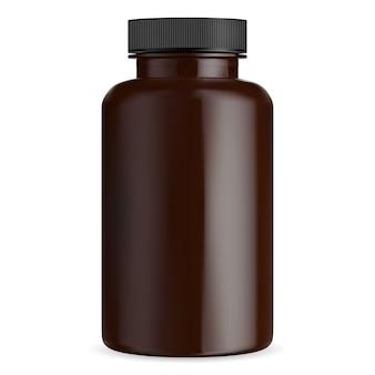 Makieta brązowej butelki pigułki. fiolka z tabletkami medycznymi. bursztynowy pojemnik na suplementy z czarną pokrywką. opakowanie butli na lek farmaceutyczny na białym tle. duże plastikowe pudełko apteczne