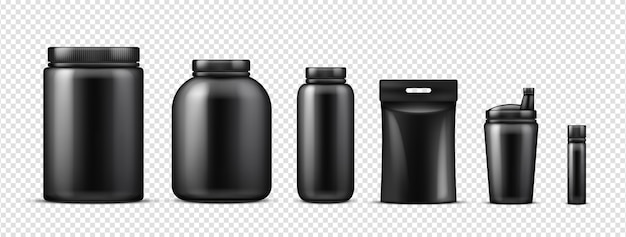 Makieta butelek czarnego białka
