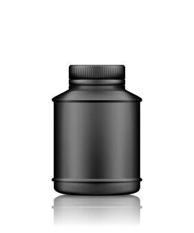 Makieta butelki czarnej medycyny lub suplementu na białym tle